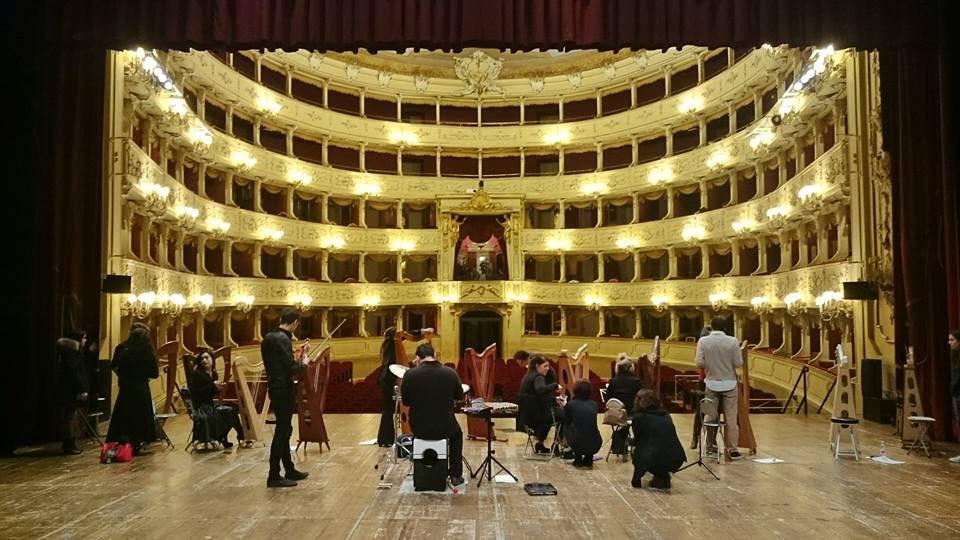 Celtic Harp Orchestra - shooting per RAI1 - Teatro Sociale di Como - 2017
